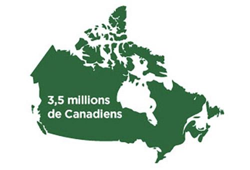 Carte indiquant que 3,5 millions de Canadiens ont actuellement des cataractes
