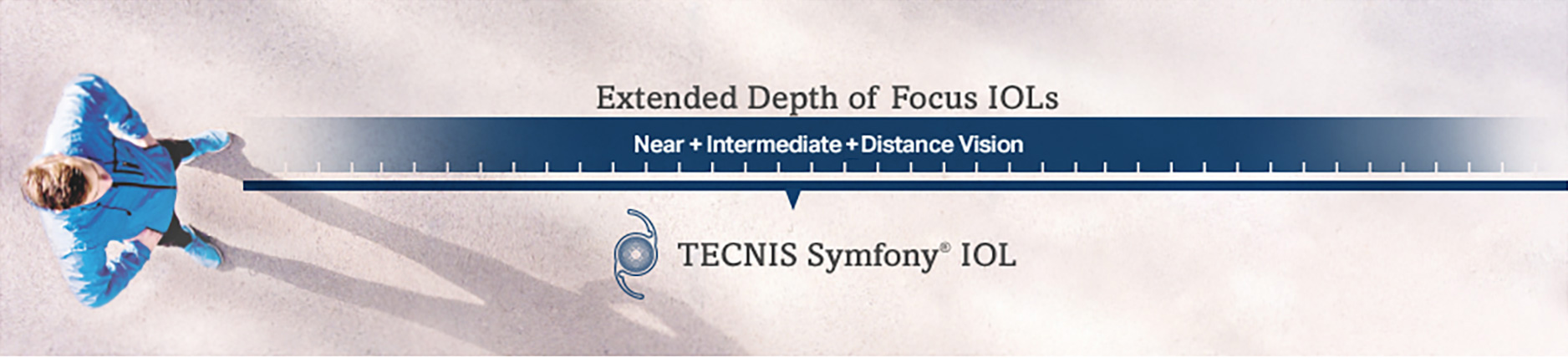 Man showing extended depth of focus for near, intermediate, and distance vision with TECNIS® Symfony® IOL