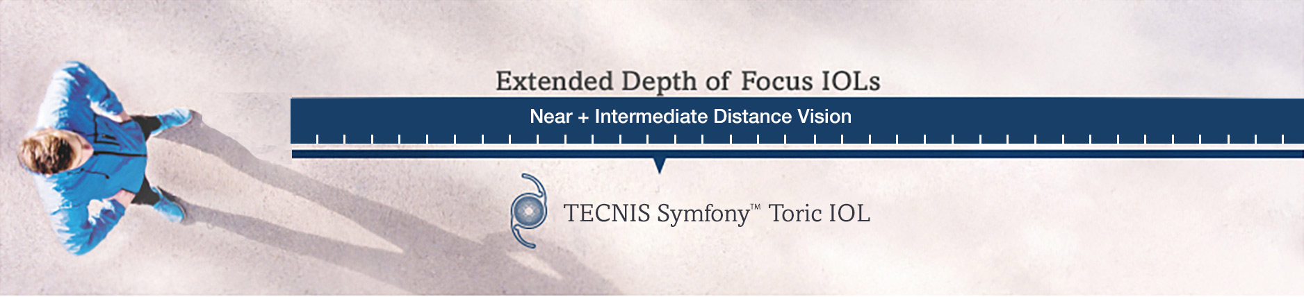 Man showing intermediate vision and distance visual range of TECNIS® Symfony™ Toric IOL