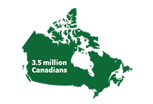 Map icon representing 3.5 million Canadians with cataracts